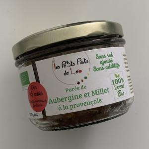 Petit pot aubergine millet du local en bocal